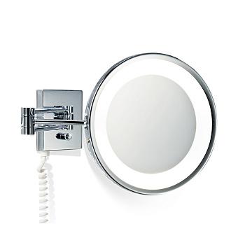 Decor Walther BS 25 PL Косметическое зеркало 22см, подвесное, увел. 3x, с подсветкой, цвет: хром