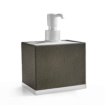 3SC Milano Дозатор для жидкого мыла, настольный, цвет: коричневая эко-кожа/белый матовый