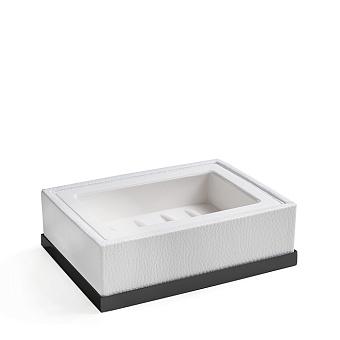3SC Snowy Мыльница настольная, цвет: белая эко-кожа/черный матовый