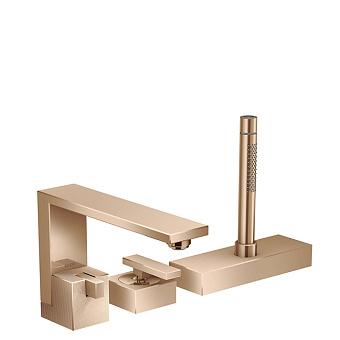 Axor Edge Смеситель на борт ванны, на 3 отв., с ручным душем, излив 210мм, алмазная огранка, цвет: красное золото