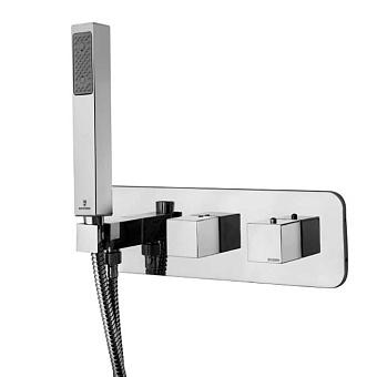 """Bossini Cube Термостат для душа, встраиваемый, с девиатором на 2 выхода, ручной душ с держателем, подключение на 3/4"""", цвет: хром"""