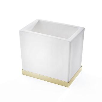 3SC Mood Deluxe Стакан настольный, композит Solid Surface, цвет: белый матовый/золото 24к. Lucido