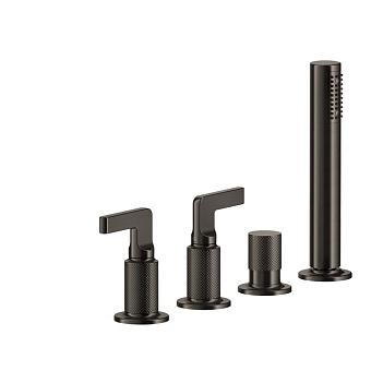 """Gessi Inciso- Смеситель для ванны на 4 отверстия для наполнения через слив-перелив, подключение на 1/2"""", переключатель, шланг 1,50 м, убирающа, цвет: black XL"""