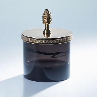 Cristal et Bronze Obsidian Баночка из обсидиана с ручкой в форме шишки