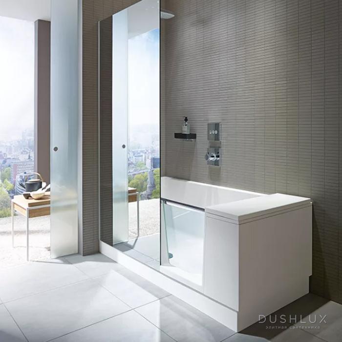 DURAVIT Shower + Bath Bathtub Ванна 1700х750хh2105 мм, прямоугольная с входной дверью и душевой шторкой ЗЕРКАЛЬНОЙ, DX - правосторонняя, цвет: белый