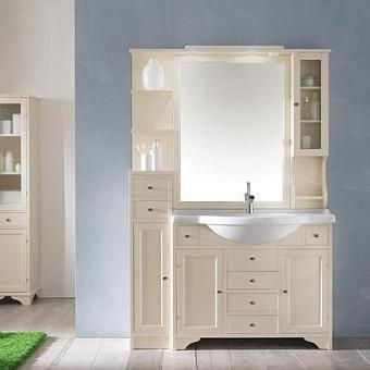 EBAN Eleonora Modular  Комплект мебели, с зеркалом со шкафчиком справа, полками слева (пенал слева), 130см, Цвет: Pergamon