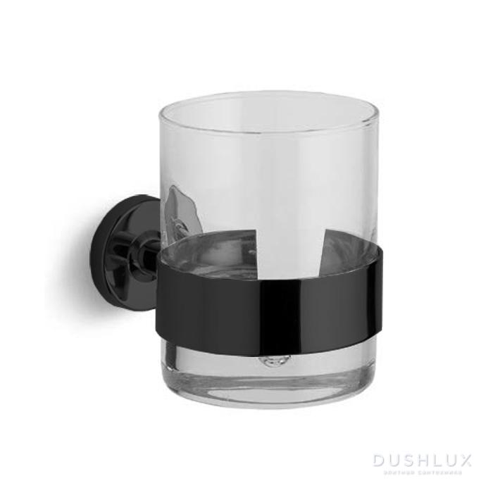 Bertocci Cinquecento Стакан подвесной, цвет: прозрачное стекло/черный матовый