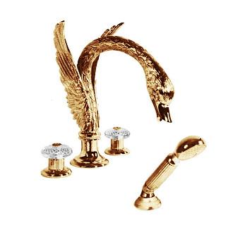Cristal et Bronze Cygne Aile Flamant Смеситель для ванны, цвет золото 24 к.