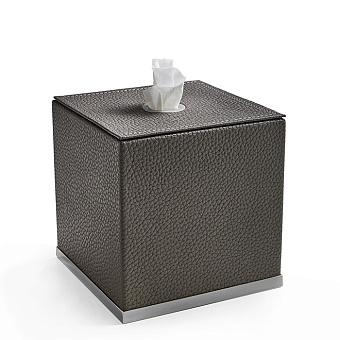 3SC Milano Контейнер для салфеток, 14х14хh14 см, настольный, цвет: коричневая эко-кожа/хром
