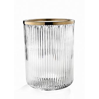3SC ELEGANCE Ведро, без крышки, 20хh28х20 см, цвет: прозрачный хрусталь/золото 24к.
