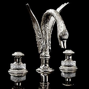Devon&Devon Excelsior Swan Смеситель для раковины на три отверстия, цвет: блестящий никель