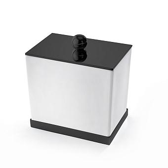 3SC Mood Deluxe Баночка универсальная, 10х10х7 см, с крышкой, настольная, композит Solid Surface, цвет: белый матовый/черный матовый