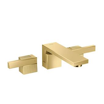 Axor Edge Смеситель для раковины, на 3 отв., с донным клапаном push/open, излив 190мм, алмазная огранка, цвет: золото