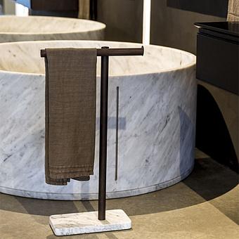 Agape In-Out Ванна отдельностоящая d129.4x59 см, круглая, мрамор Carrara, цвет: белый