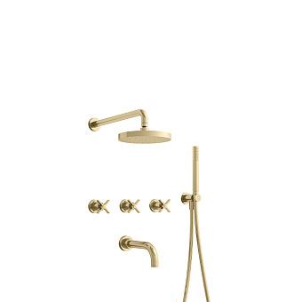 Cristina Cross Road Душевой комплект: смеситель встраиваемый, верхний душ, ручной душ, гибкий шланг, цвет: золото
