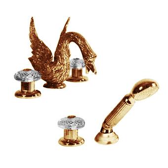 Cristal et Bronze Cygne Aile Смеситель для ванны, цвет золото 24 к.