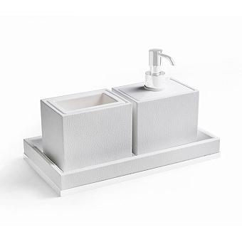 3SC Snowy Комплект: стакан, дозатор, лоток, цвет: белая эко-кожа/белый матовый