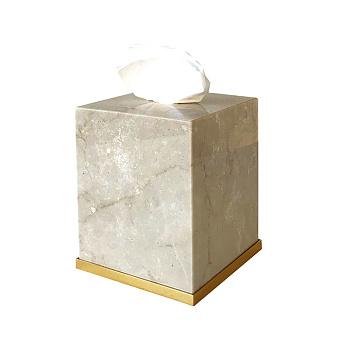 3SC Elegance Контейнер для салфеток 13х13хh15см, цвет: мрамор botticino/золото 24к. Lucido
