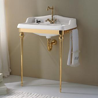 3SC Consolle Консоль Boheme 98х56хh104см, с раковиной LA02, сифоном и полотенцедердателями, цвет: золото 24к. Lucido