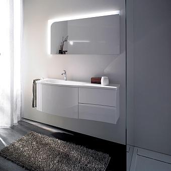 Burgbad Sinea 1.0  Комплект подвесной мебели 121 см, база с 2 выдвижными ящиками и 1 большим ящиком, цвет белый глянец, раковина  из минерального литья, цвет: белый