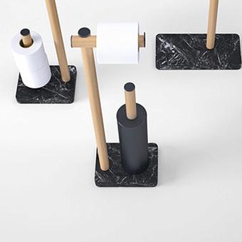 Agape Dot line Напольная стойка с туалетным ёршиком и держателем т/б, цвет: коричневый дуб/черный мрамор Marquinia