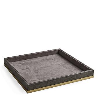 3SC Milano Лоток универсальный 28х28хh4см, цвет: коричневая эко-кожа/золото 24к. Lucido