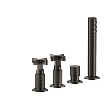 Gessi Inciso+ Смеситель для ванны на 4 отверстия для наполнения через слив-перелив, переключатель, шланг 1,50 м, цвет: black XL