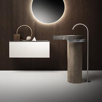 Falper Eccentrico Раковина 63x56x90 см, без отв., напольная, мраморная Pietra Grey, полотенцедержатель нержавеющая сталь, цвет: светлый дуб