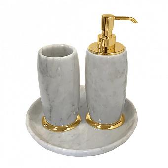 3SC Elegance Коплект: стакан, дозатор, лоток,  мрамор bianco carrara/, цвет: золото 24к. Lucido