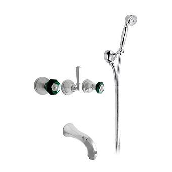 Nicolazzi Teide Chic Смеситель для ванны с 2мя ручками, встроенный, с ручным душем, вкл. внутр часть, излив: 168 мм, цвет: хром
