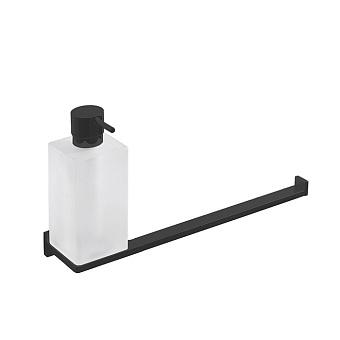 Colombo Look Полотенцедержатель с дозатором для жидкого мыла, подвесной, цвет: черный матовый/стекло