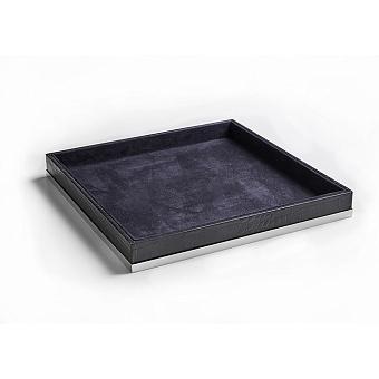 3SC Cocco Лоток универсальный, 28х28см, отделка: черная кожа, цвет: хром