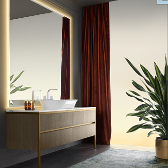 VITAGE milldue edition ALGONQUIN Комплект мебели с базой, раковиной NEW YORK, мраморной столешницей, зеркалом BROOKLYN с подсветкой, 166см, матовый шпон/аллюминий Цвет: rovere miele-7676/ottone spazzolato-339/arabescato-B15