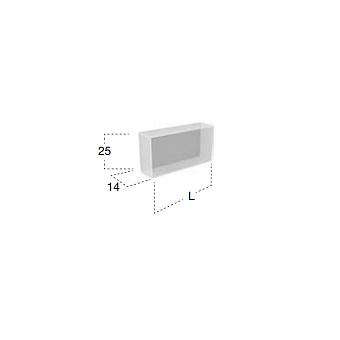 Antonio Lupi Ice Открытый подвесной шкаф 27х14х25 см из прозрачного стекла с 1 секцией, задняя стенка окрашена в цвет по каталогу