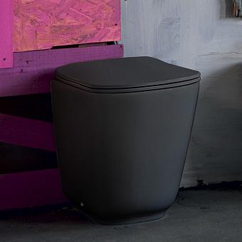 Kerasan Tribeca Унитаз напольный пристенный 55х35см, безободковый, c креплением WB5N, цвет: черный матовый