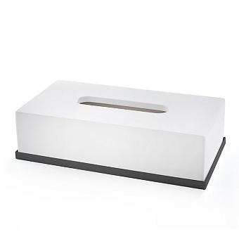 3SC Mood Deluxe Контейнер для бумажных салфеток, 24х7х13 см, прямоугольный, настольный, композит Solid Surface, цвет: белый матовый/черный матовый