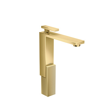 Axor Edge Смеситель для раковины, на 1 отв., с донным клапаном push/open, излив 180мм, алмазная огранка, цвет: золото