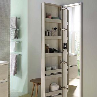 Burgbad Sys30 Шкаф 400х150х1760 мм, подвесной, 1 дверь с зеркалом и подсветкой с внутрен. стороны, 5 полок, двойная розетка, цвет: Eiche Dekor Flanelle