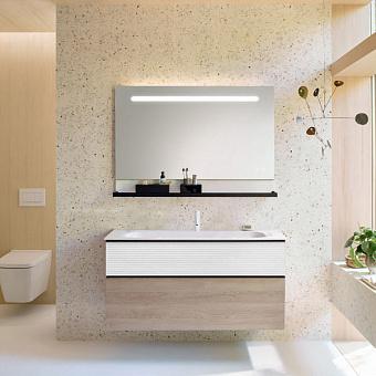 Burgbad Fiumo Комплект подвесной мебели 122х49х61см, с раковиной на 1 отв., ручки черные матовые, цвет: белый матовый/Eiche Dekor Cashmere