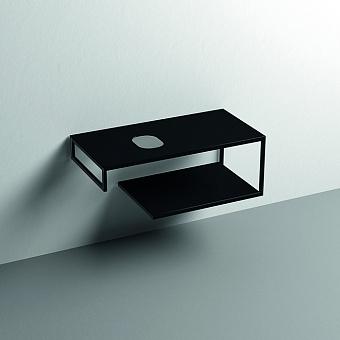 Kerasan Louise Металлическая структура для раковины 100см, подвесная, с полкой, с 1 отв., с полотенцедержателем, цвет: черный матовый