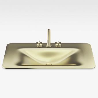 Armani Roca Baia Раковина 90x47 см, 3 отв., встраиваемая сверху, со скр. переливом, цвет: matt gold