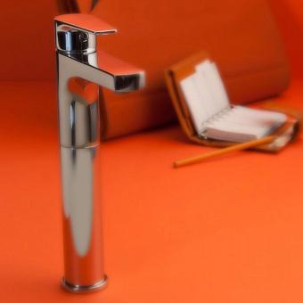 Bongio Pi7, Смеситель для раковины с высоким изливом, цвет: хром