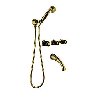 Bongio Fleur Noir Встраиваемый комплект для ванны- смеситель с изливом, перекл. и ручным душем, цвет золото/черный фарфор