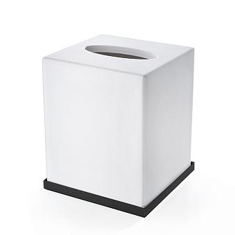 3SC Mood Deluxe Контейнер для бумажных салфеток, 12х12х14 см, квадратный, настольный, композит Solid Surface, цвет: белый матовый/черный матовый
