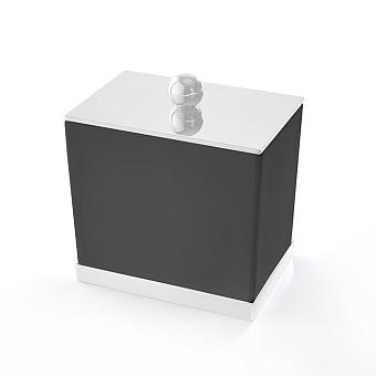 3SC Mood Deluxe Баночка универсальная, 10х10х7 см, с крышкой, настольная, композит Solid Surface, цвет: чёрный матовый/белый матовый