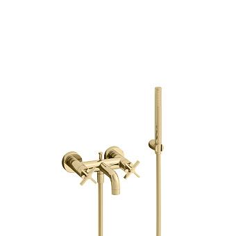Cristina Cross Road Смеситель для ванны с ручным душем, 3 отв., цвет: золото