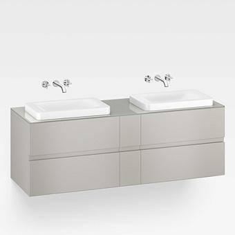 Armani Roca Baia Тумба подвесная с 2 раковинами, 180х59х61см с 4 ящиками, со столешницей, цвет: silver
