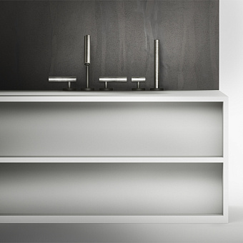 Falper Cilindro Смеситель на борт ванны, 5 отв., цвет: нержавеющая сталь/черный