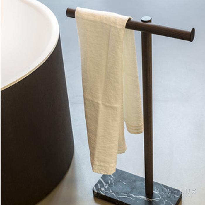 Agape Dot line Напольный полотенцедержатель, цвет: темный дуб/черный мрамор Marquinia