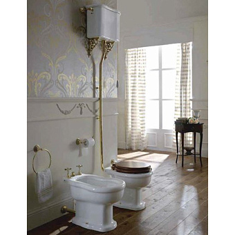 Sbordoni Palladio  Унитаз с высоким бачком, слив в стену, фурнитура мат.бронза, белый СИДЕНЬЕ НА ВЫБОР